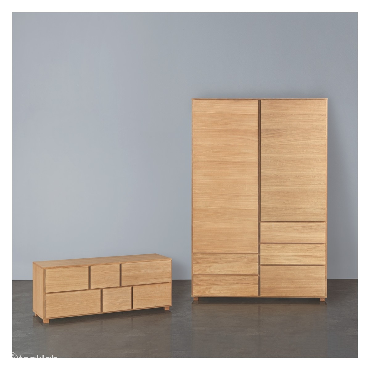 Teak Wood Wardrobe And 6 Drawer Chest