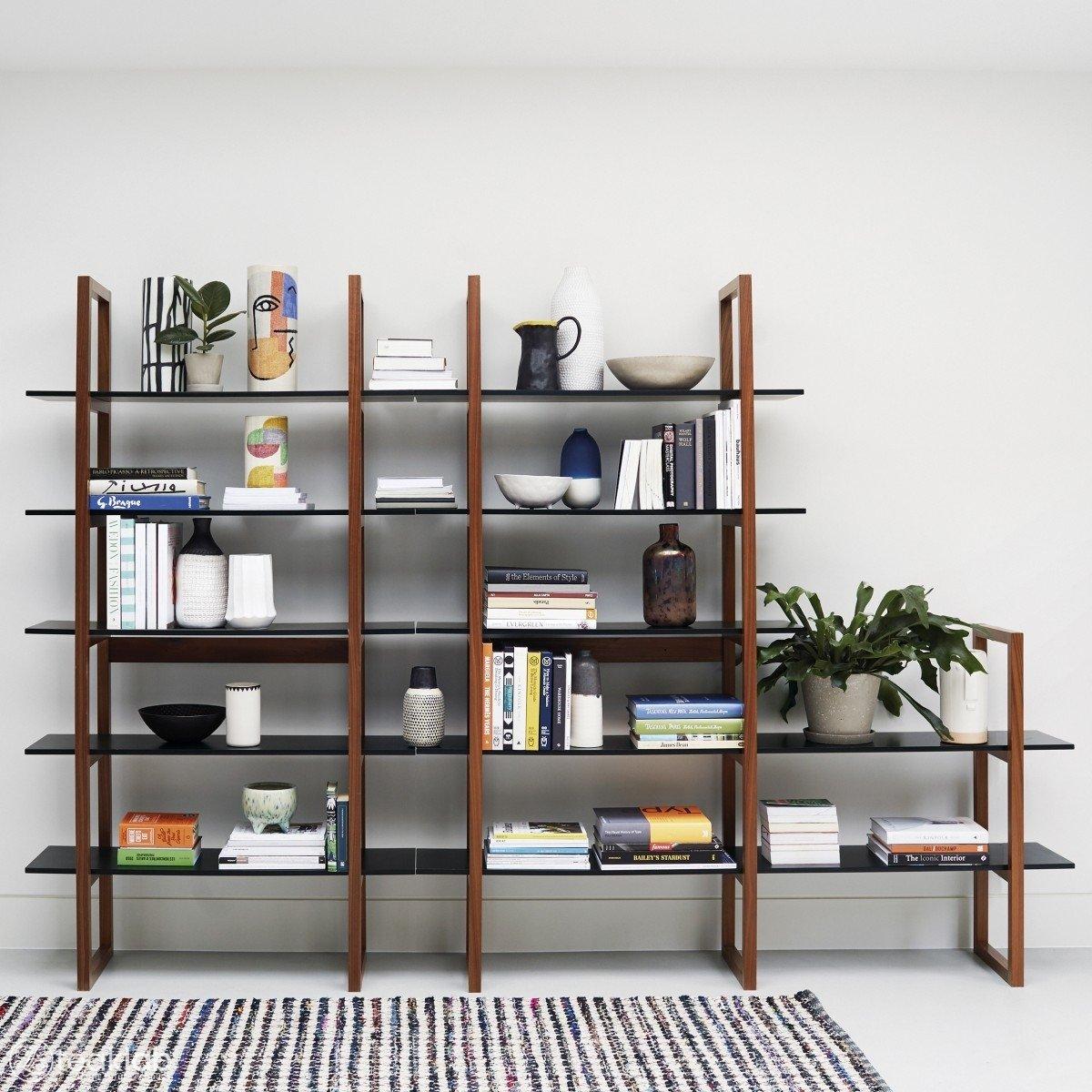 Teak Extra Wide 5 Shelf Bookcase