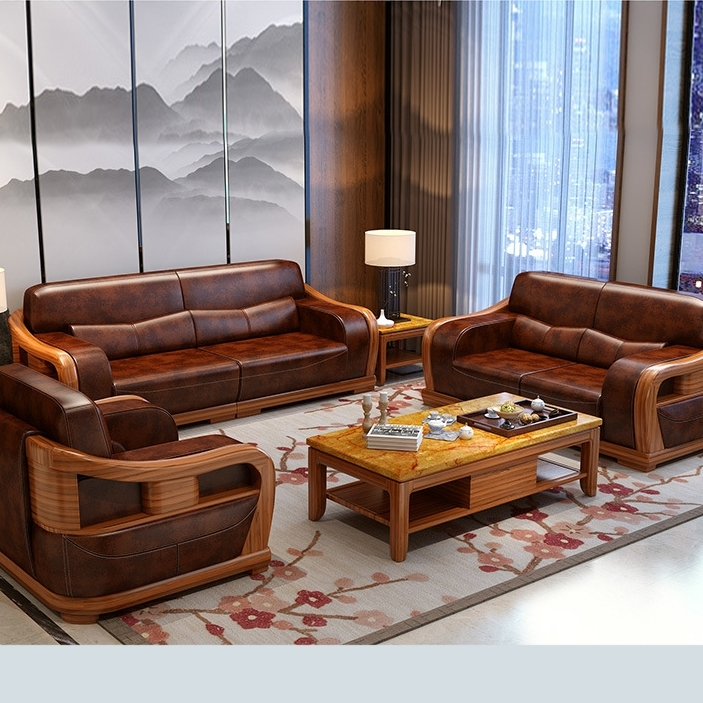 Modern Style Teak Wood Leather Sofa