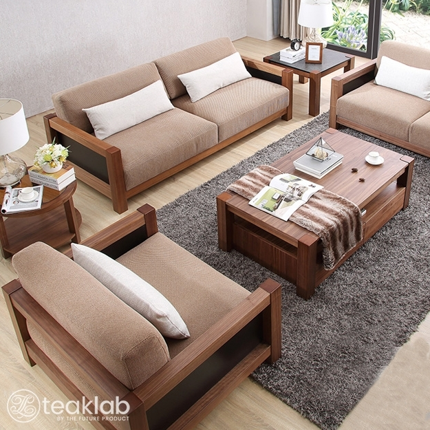 Indian Minimalist Wooden Sofa Set