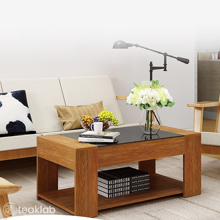 Buy Solid Teak Wood Coffee Table Glass Top Online | TeakLab