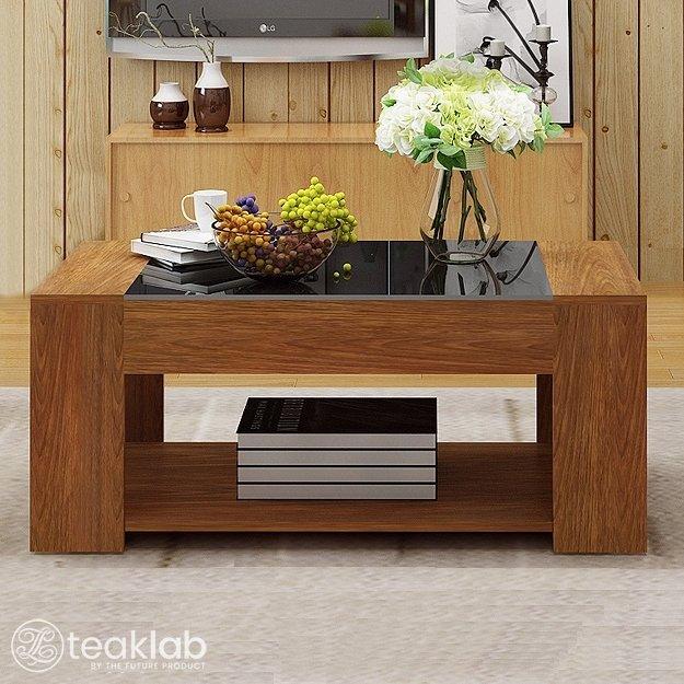 Buy Solid Teak Wood Coffee Table Glass Top Online | TeakLab