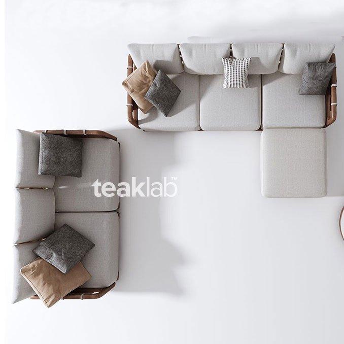 Buy Teak Wood Sectional Sofa Set 3 Seats 1 Ottoman