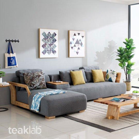 Nordic Teak Wood Sectional Sofa Set